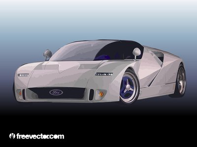 Silver Ford Race Car
