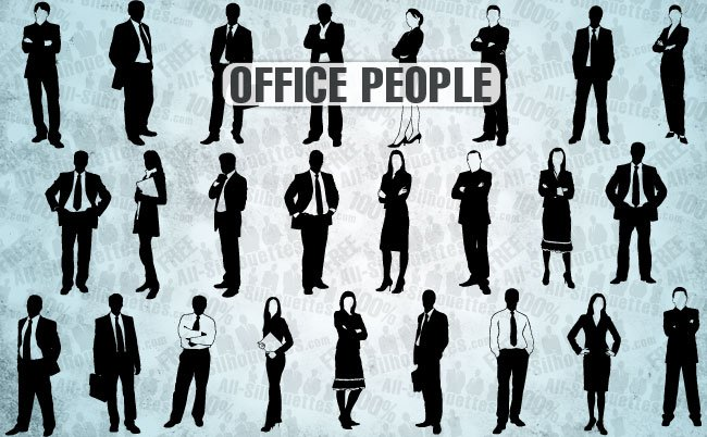 25 Office people vector silhouettes