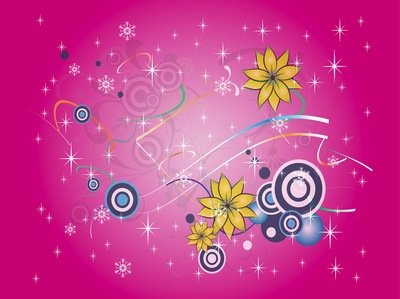 Colorful Snowy Floral & Starry Background