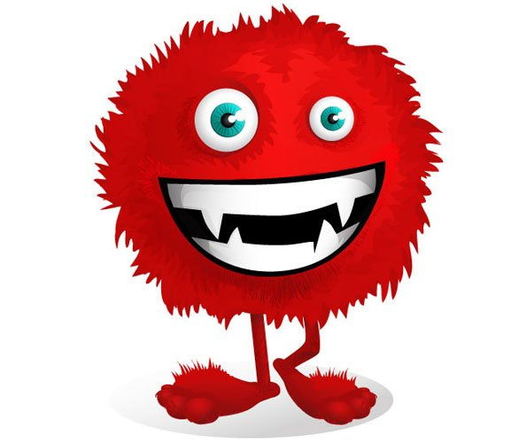 Cartoon Characters Monsters : Red fluffy monster vector character images