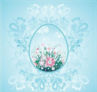 One easter egg on blue background with decorative elements
