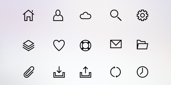25 Line Icons (PSD & PNG)