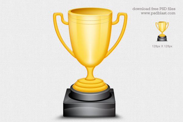Gold Trophy Cup Icon (PSD)