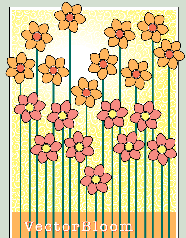 Flowers Blooming Vector Background Free