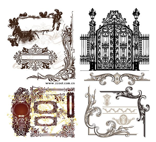 A variety of practical European-style lace pattern vector ma