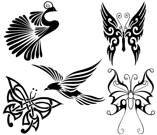 Free Tribal Birds And Butterflies Archivo Vectorial