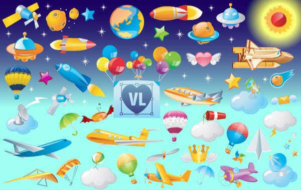 free vector icons of flying objects icons flying flight cartoon airplane with banner clipart plane with banner clipart