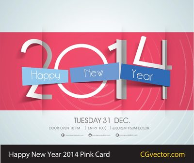 Happy New Year 2014 Pink Card