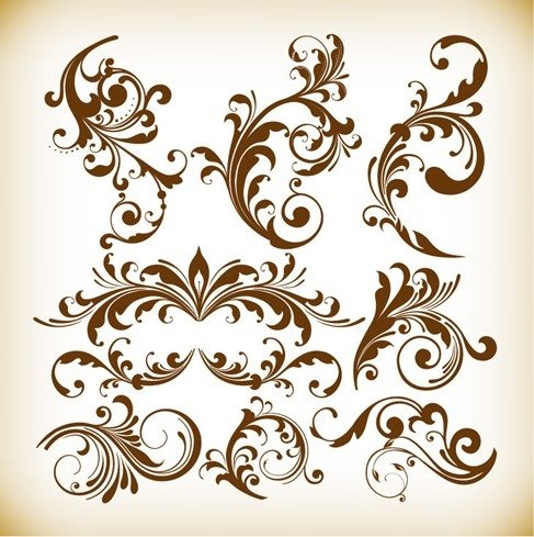 Vintage Design Floral Element Vector Graphis Set