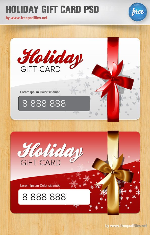 holiday gift card psd template free vectors. Black Bedroom Furniture Sets. Home Design Ideas