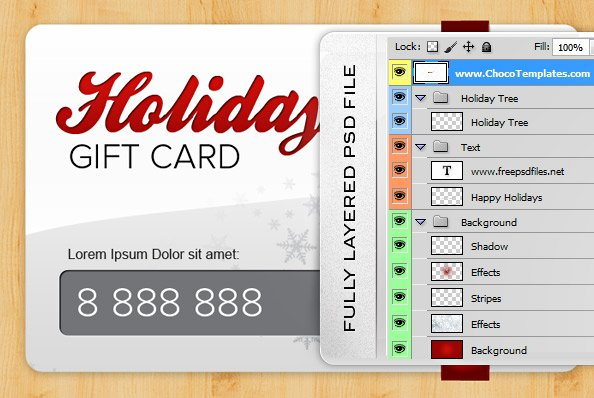 Holiday gift card psd template free vectors 365psd 1 yelopaper Images