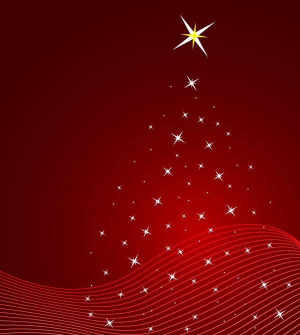 Red Christmas Background Vector Illustration with Stars ...