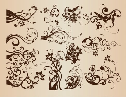 Vector Set of Vintage Floral Elements for Design