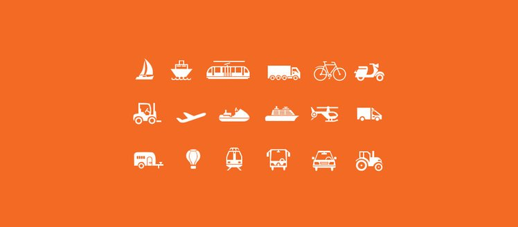 18 Transport Travel Vector Icons Set