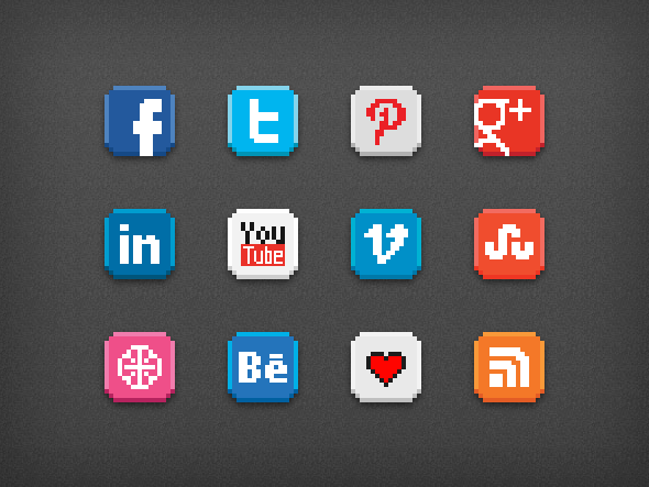 8-bit social icon pack