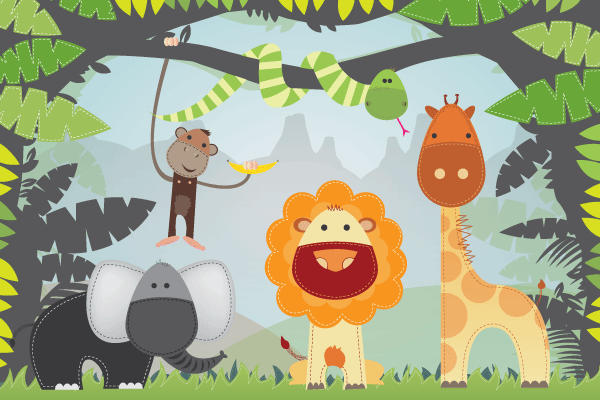 Cartoon Jungle Animals Vector Free