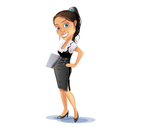 Lady Cartoon Characters : Successful business woman vector character free