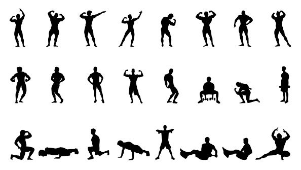 fitness silhouettes set 1 vector   365psd