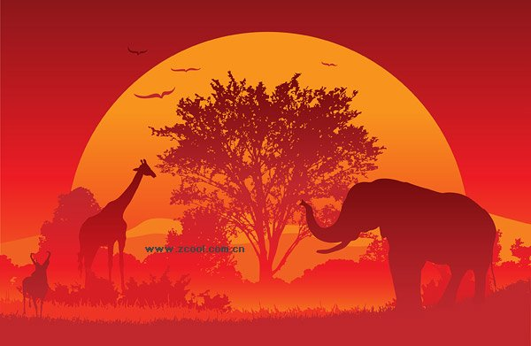 Sunset Vector material under the African continent