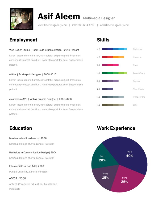 Free One Page Resume Template PSD Files Vectors Graphics