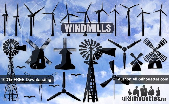 24 Vector Windmill Silhouettes