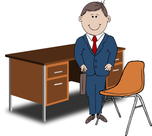 Browse > Business & Finance > Teacher / Manager between chair and desk