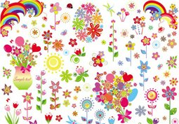 Colorful flower set
