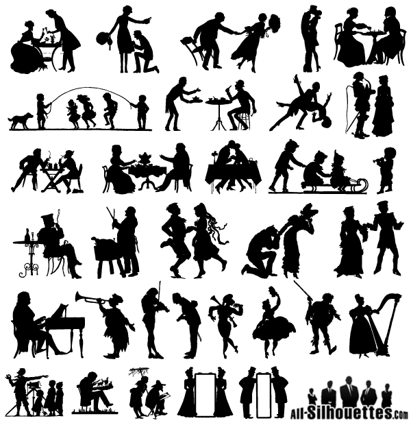 free free vector 19th century silhouettes psd files vectors