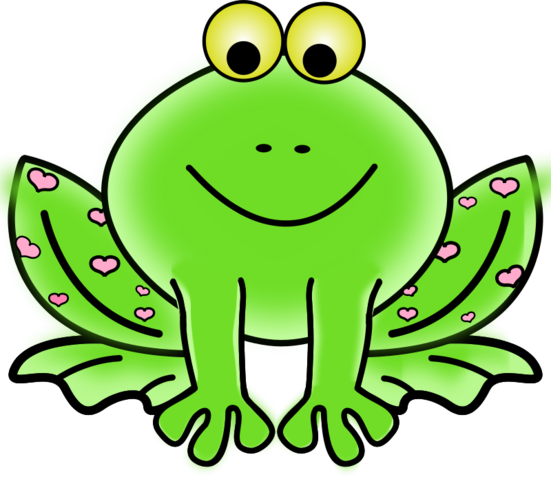 Green Valentine Frog with pink hearts