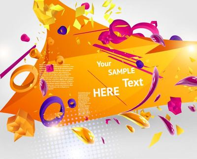 3D Abstract Orangey Template Background