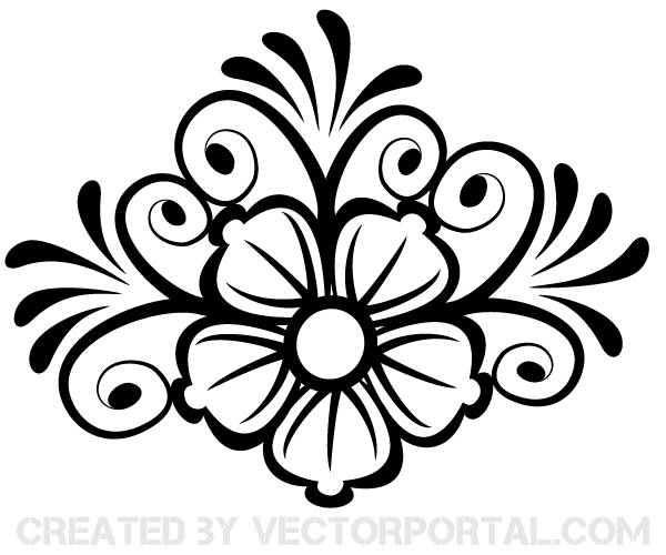Line Drawing Vector Graphics : Free flower ornament vector art psd files vectors