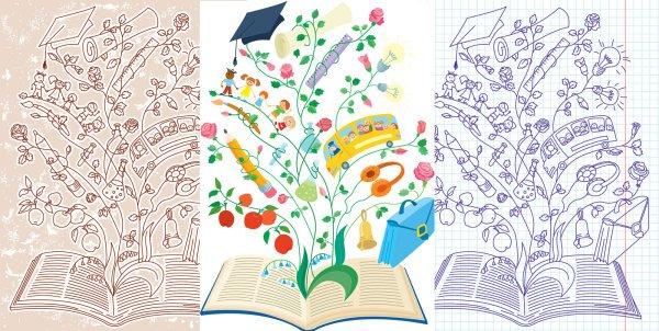 Vector illustration of creative learning materials