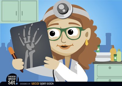 Doctor Woman looking radiography