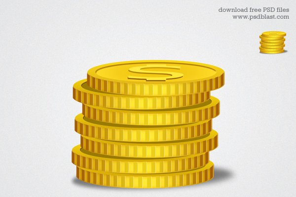 Gold Coin Icon, Financial graphic
