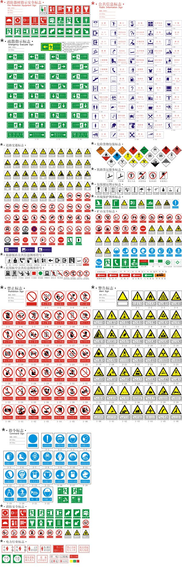 Safety, warning, prohibition of all kinds of signs vector ma