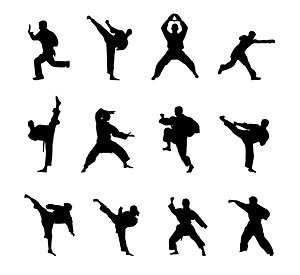 Kung fu martial arts icon material silhouette figures vector free ...