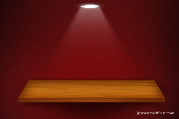 Free 3d Isolated Empty Shelf For Exhibit On Red Wallpaper