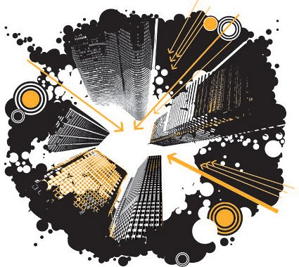 The trend of urban high-rise buildings illustrator vector ma