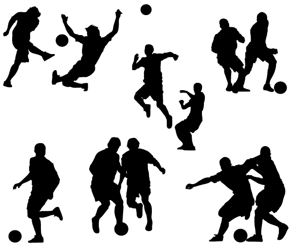 Free Football Player Silhouettes, vector image - 365PSD.com