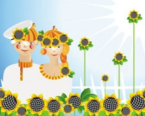Stock Illustrations Couples - Sunflowers