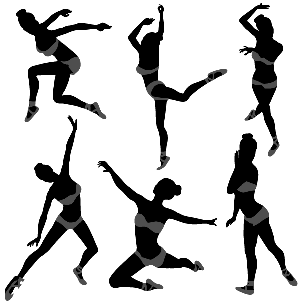 free dancing girl silhouettes illustration psd files vectors