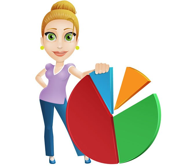 Vector Lady Behind Pie Chart