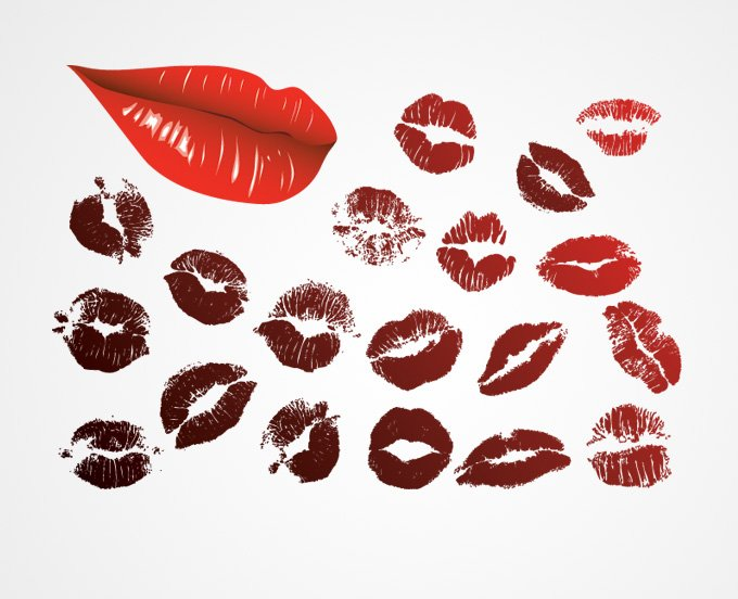 Lips & Lipstick Kiss Mark