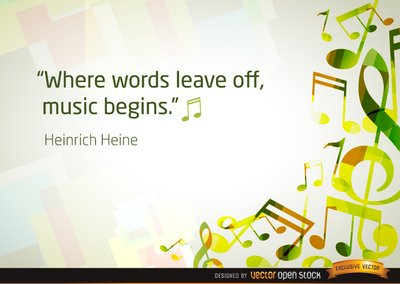 Musical notes background with quote