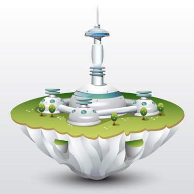 Vector floating island with mines gray buildings