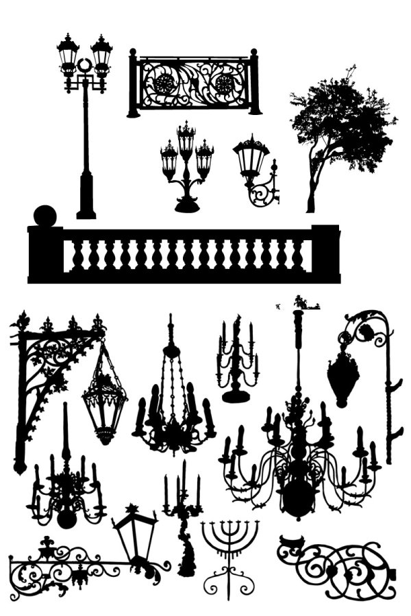 Black and white silhouette lamps