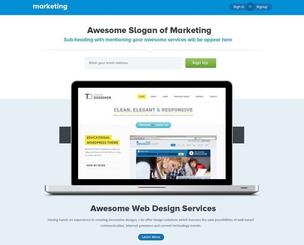 Marketing Landing Page Free PSD Template