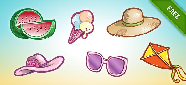 Free PSD Summer Icon Set 1
