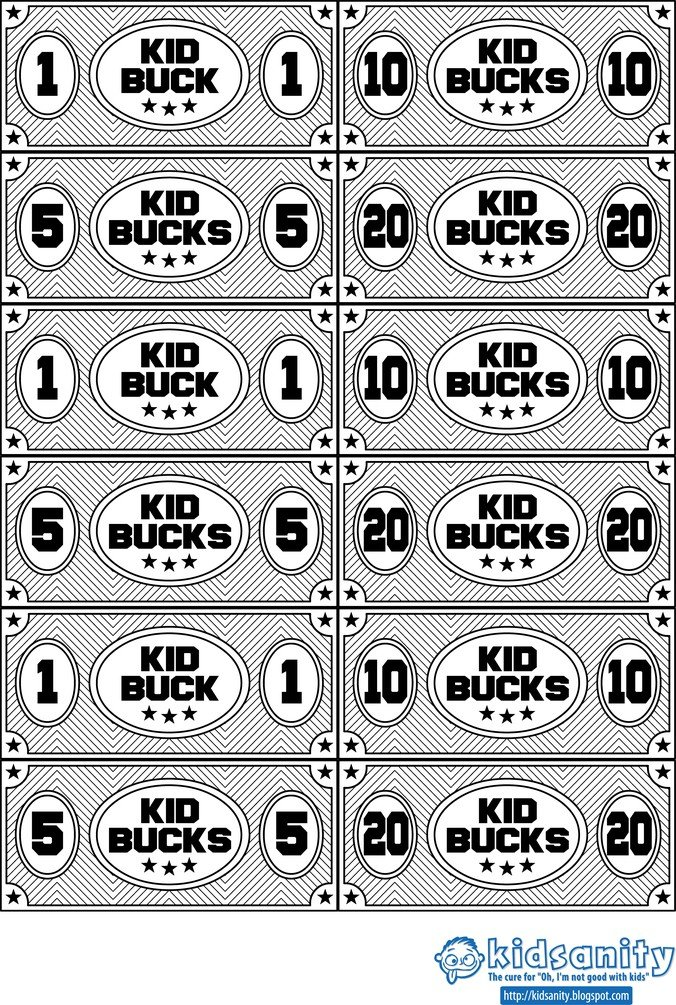 Kid Bucks Animal Themed Printable Play Money