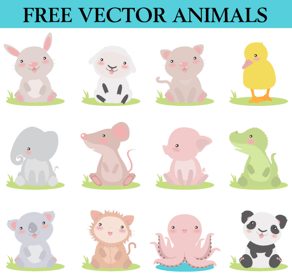 Free cute cartoon animals vector file 365psd voltagebd Gallery